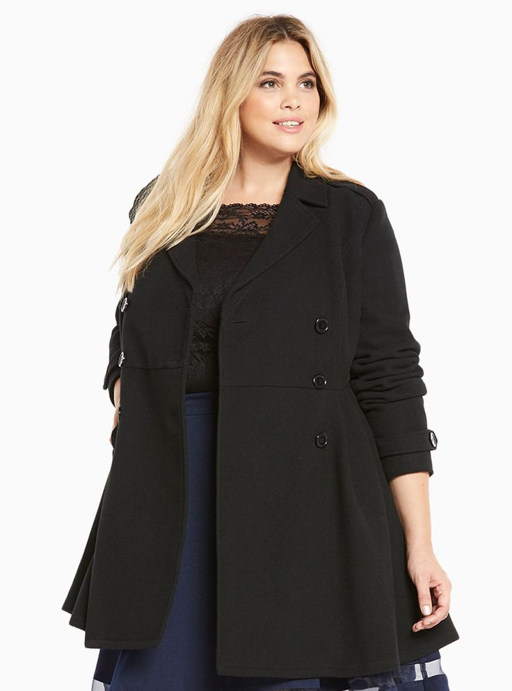 """Other winter coats need not apply; this overcoat meets all of our requirements. The midi length will keep you bundled up, while the heavier black textured knit helps brave the big chill. You'll still look cute thanks to the flattering double breasted front that slightly flares.<div><br></div><div><b>Model is 5'10"""", size 1<br></b><div><ul><li style=""""LIST-STYLE-POSITION: outside !important; LIST..."""