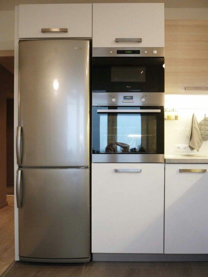 кухни с невстроенным холодильником фото призрачная