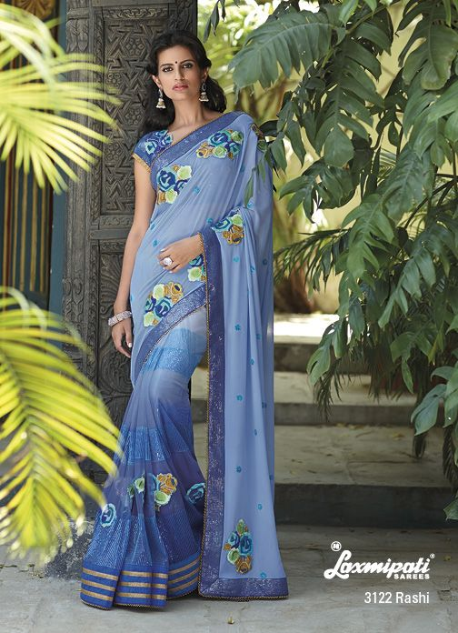"""Multi patches  sequence work on the whole sky blue half -half georgette+net saree is, remarkable designer work saree. You feels it """"You're an Angel !"""""""