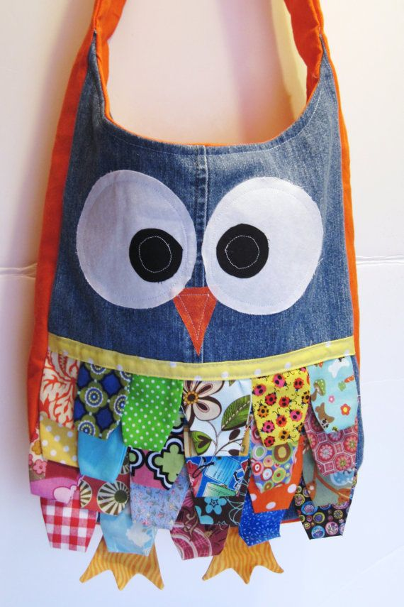 Owl Tote Bag with Assorted Feathers and Orange by GrandmaBeBe, $39.00