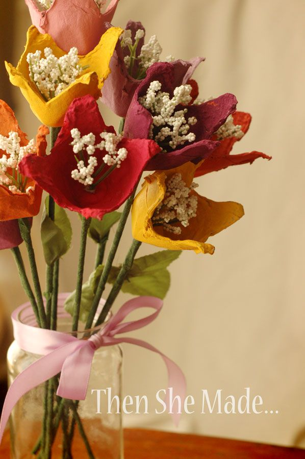Adorable Egg Carton Flowers ~ these could be adorable for someone with allergies ;)