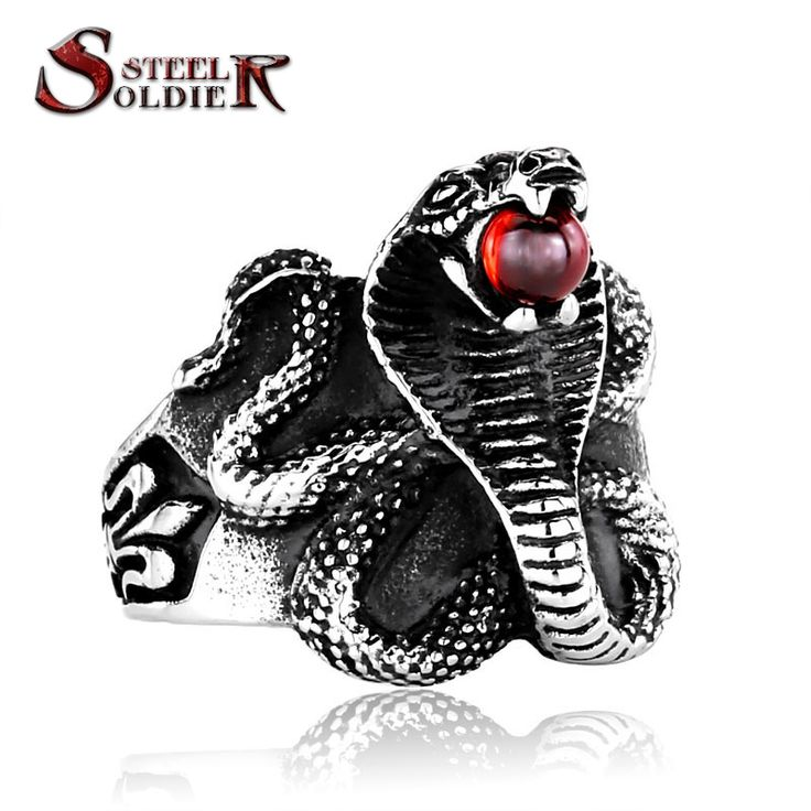 steel soldier Factory Price Cobra stainless steel Man ring Punk Heavy Metal ring Snake Jewelry BR8-216