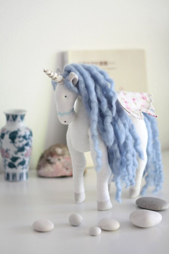 Unicornisus unicorn light blue Pegasus flying by dearblueberryshop, €35.00