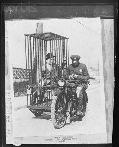 Police Motorcycle with Sidecar Jail for Traffic Offenders, Los Angeles