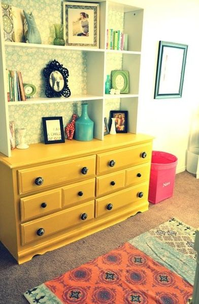 Yellow Dresser & Shelves: Bookcase, Idea, Yellow Dresser, Color, Yellow Room, Dressers, Top