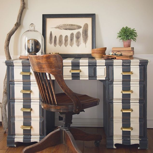 striped desk in annie sloan chalk paint, chalk paint, painted furniture
