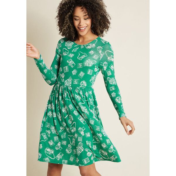 Yours Truly Long Sleeve Dress ($65) ❤ liked on Polyvore featuring dresses, green a line dress, green long sleeve dress, green color dress, jersey knit dress and green dress