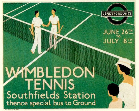 Wimbledon Tennis 1933,  London Underground Railway Poster Print on Etsy, $9.95