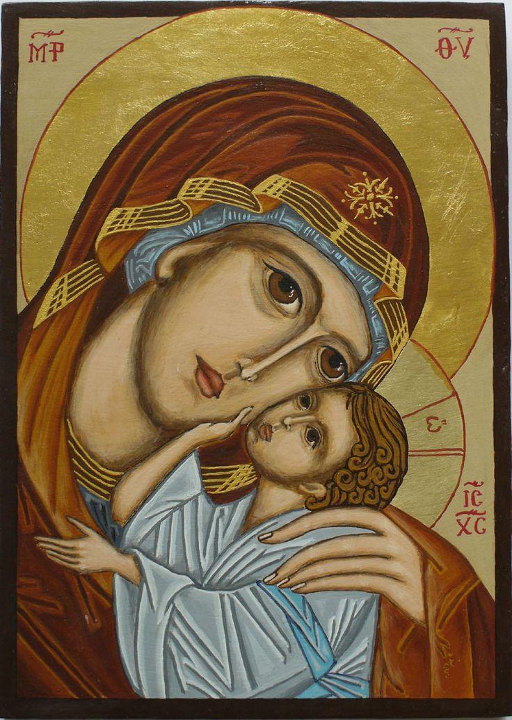 Byzantine Icon Mother of God Glykophilousa. Egg tempera on board