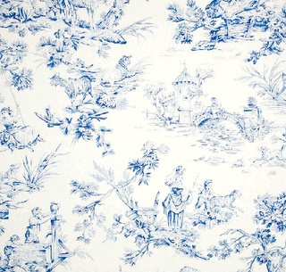 my favorite fabric (TOILE de JOUY) in Musee Toile Blue by Covington.
