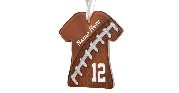 """Cool Personalized Football Ornaments, T Shirt Shaped or choose another style. 4 Template Text Boxes (Click little blue word """"MORE"""" to see all FOUR text templates for FRONT and BACK of Ornament) for Player or Team NAME and Jersey NUMBER or his Monogrammed typed into the FOUR (4) Text Box Templates (SCROLL to See ALL FOUR Text Boxes). To get help customizing these personalized football ornaments for boys and men. CALL Designer Linda for Help and Design Changes: 239-949-9090. ..."""