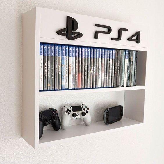 Game shelf, xbox, nintendo – Me Casa – Game Room İdeas 2020 Computer Gaming Room, Gaming Room Setup, Gaming Shelf, Cool Gaming Setups, Gamer Setup, Gaming Chair, Boys Game Room, Boy Room, Xbox