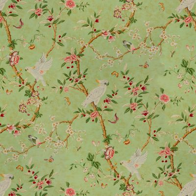 Kanchou in Verdigris from Brunschwig & Fils #fabric #cotton #green #asian #birds #flowers