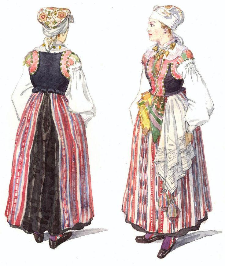 1900年から1930年頃、スウェーデン南部ブレーキンゲ地方の民族衣装。スウェーデンの女性工芸デザイナー、Emelie Wilhelmina von Walterstorffによる水彩画。 pic.twitter.com/R6cXjUSM1H