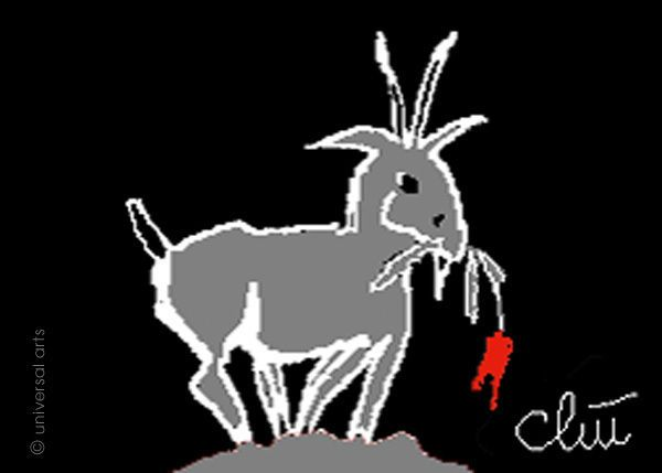 JACQUELINE DITT - Little Goat ACEO ltd.Grafik Miniatur ger.signiert Bilder Ziege