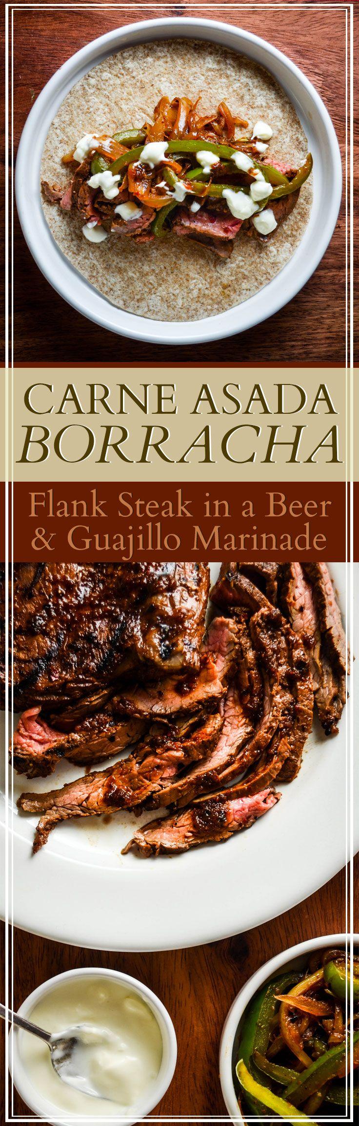 Carne Asada Borracha - Mexican flank steak in a beer and guajillo chili marinade.