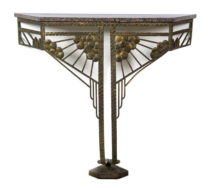 Paul Kiss Art Deco Iron Console Table