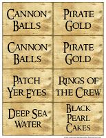 Printable Pirate food labels.