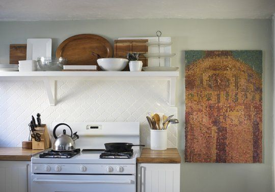 Display prized serving dishes on shelf.  credit: Lea & Mike's Charming Craftsman Casa — House Call