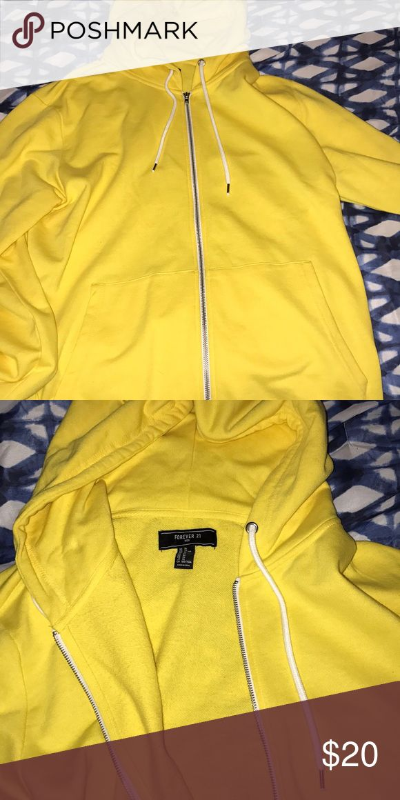 Yellow zip up! UNISEX! Amazing condition and never worn! Forever 21 Jackets & Coats