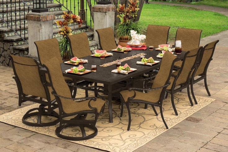 9 pc patio dining sets. lloyd flanders low country 9 piece woven