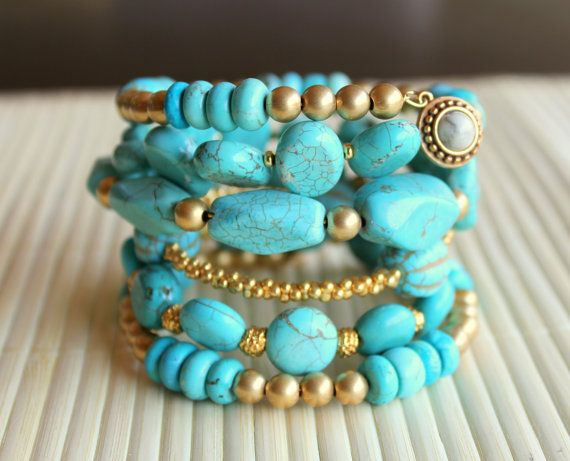 Turquoise and Gold Six Layer Wrap Bracelet by CaliforniaEclectic on Etsy.