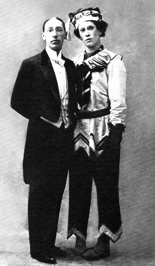 Igor Stravinsky and Vaslav Nijinsky in 1911, the latter costumed as Petrouchka for his premiere performance of the role