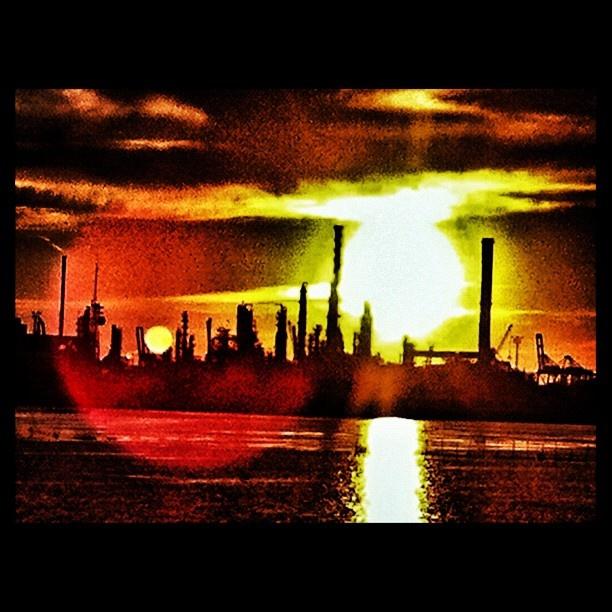 #sunset #marghera #fabbriche #sun #sky