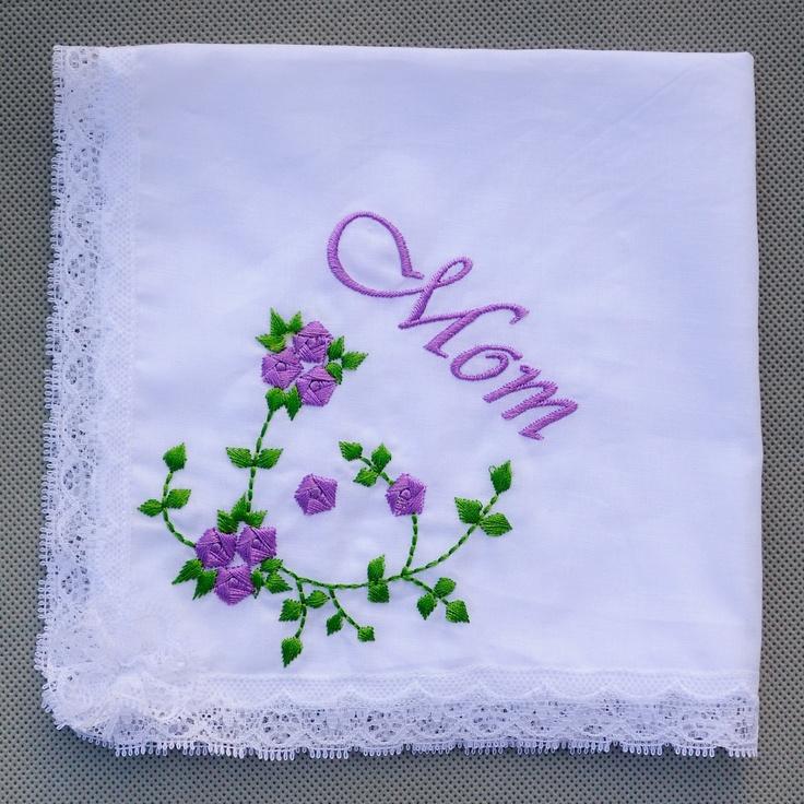 White Cotton Handkerchief Embroidery Purple Flower Lace Edge Hanky