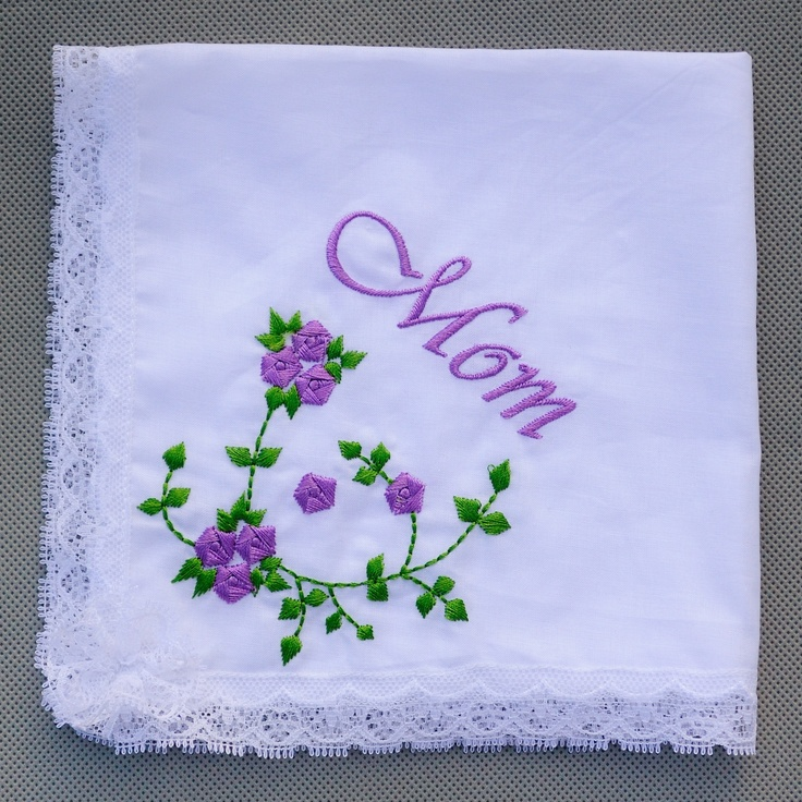 White Cotton Handkerchief Embroidery Purple Flower Lace Edge Hanky