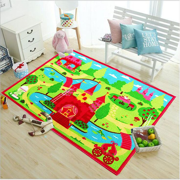 Kids Non Slip Princess Castle Bedroom Playroom Floor Rug