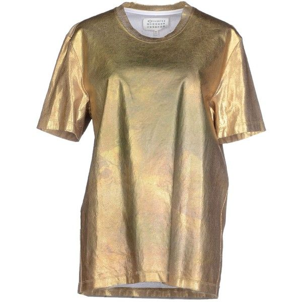 Maison Margiela 1 T-shirt ($290) ❤ liked on Polyvore featuring tops, t-shirts, gold, short sleeve tops, brown tops, short sleeve t shirts, short sleeve tee and brown t shirt