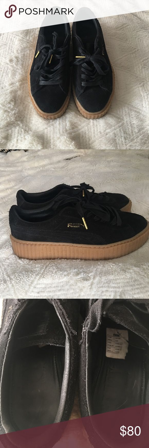 Fenty puma black suede creeper size 9 USED size 9 black suede nude sole Fenty Puma creeper. Love them but never wear them bc they're a bit small. Puma Shoes Sneakers