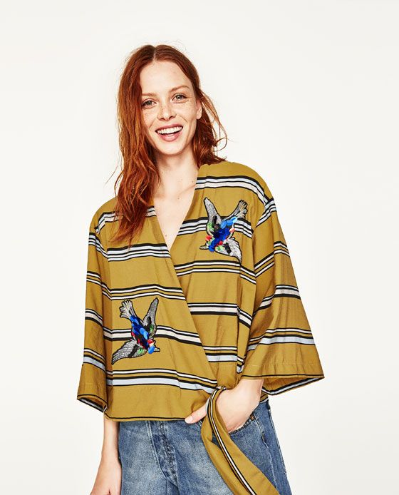 Image 2 of STRIPED SHIRT WITH PATCHES from Zara