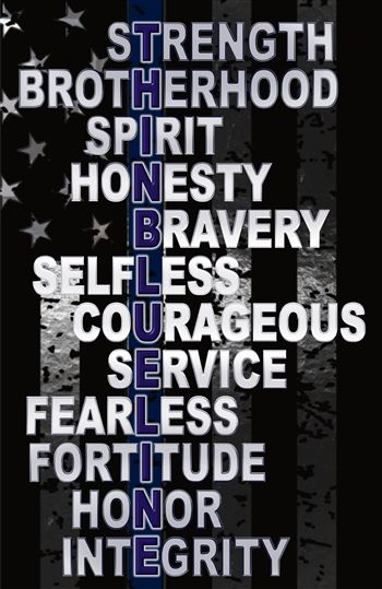 This 4' vertical decal lists out traits that are present in all law enforcement. Show your support and add one to your vehicle bumper. $75+ ships free!