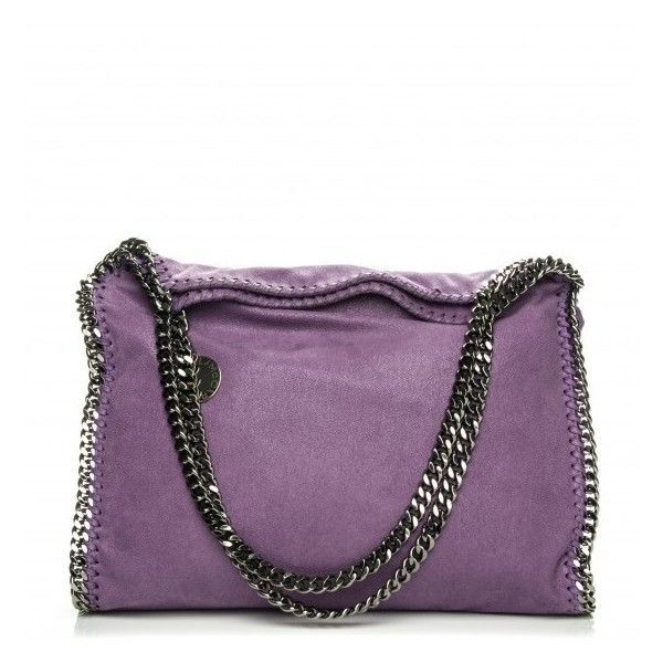STELLA MCCARTNEY Shaggy Deer Small Falabella Tote Purple ❤ liked on Polyvore featuring bags, handbags, tote bags, monogram tote, tote purses, stella mccartney tote, metallic tote and purple purse