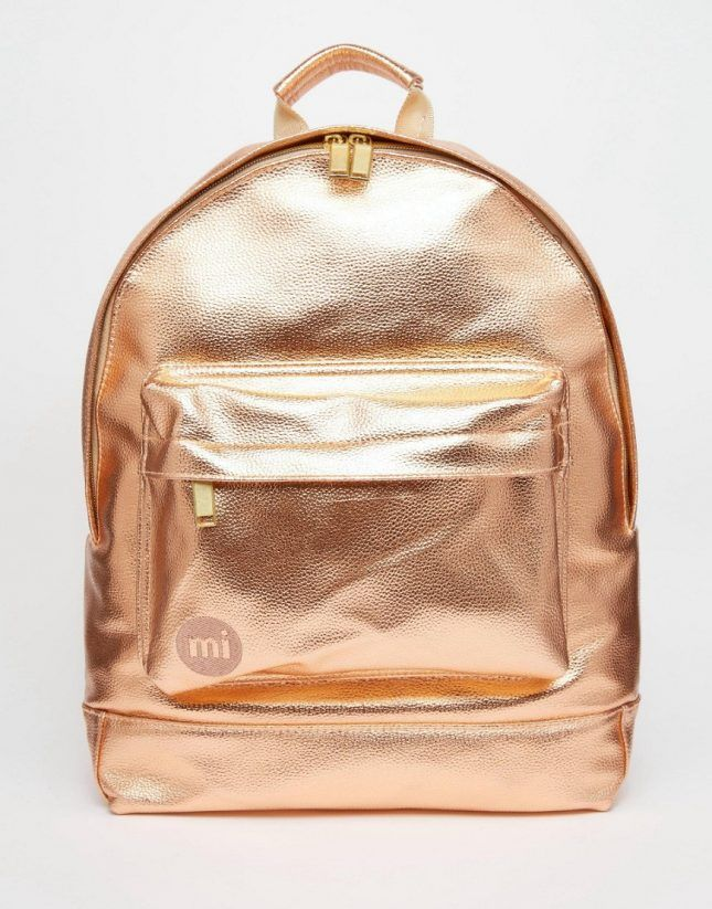 Make a statement with a rose gold metallic backpack.