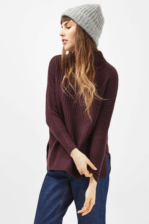 Petite long line ribbed funnel knitted jumper. #Topshop