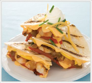 Shrimp Quesadillas with Double Gloucester Cheese