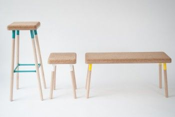 Pop colors, cork, beech plywood. You can't help but love those playful stools.