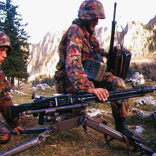 Two Swiss Soldiers With MG . They Were Equiped By TAZ57