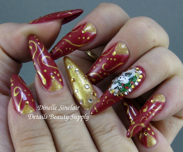 My 2012 Holiday Snoopy Nails!  LCN Colour Gels & Click Nail Art Paints