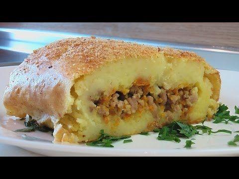 Рулет картофельный с овощами и мясом видео рецепт.Книга о вкусной и здор...