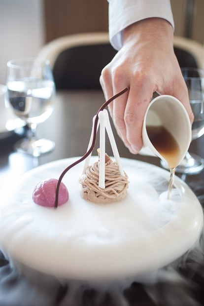 Mont Blanc I Le Gâteau Mont Blanc I Chestnut Vermicelli, Pound Cake, Rum, Cassis Ice Milk I The Bocuse Restaurant I The Culinary Institute of America