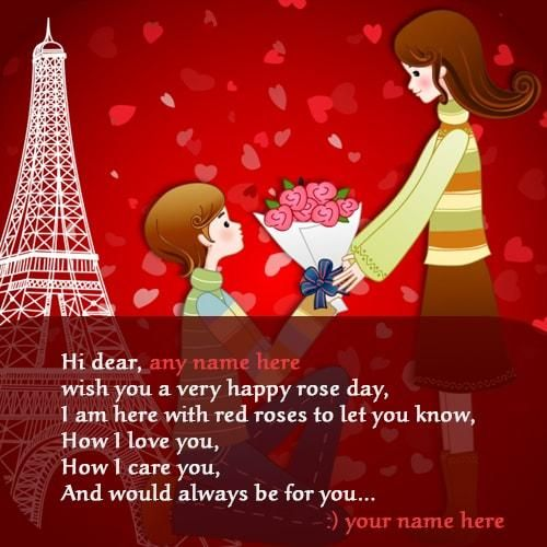 happy day wishes quote with girlfriend name editor and my nbame edit images online free. personalize girlfriend name on rose day wishes name pictures i love you. create rose day love pics with name