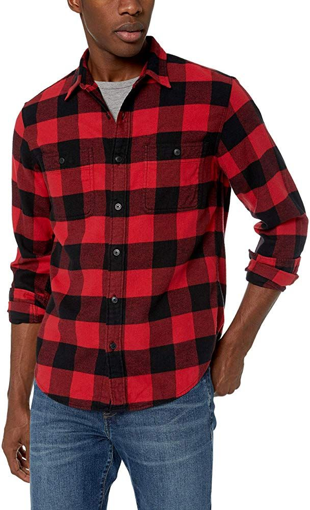 Mens Flannel Plaid Button Down Shirts Slim Fit Check Dress Shirt Long Sleeve Top