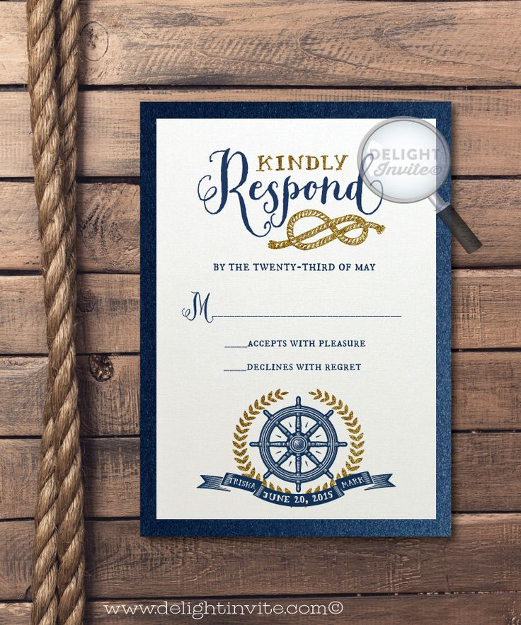 do you invite officiant to wedding reception%0A Rustic Nautical Anchor Wedding RSVP Invitation  DI    RSVP    Custom  Invitations and Announcements