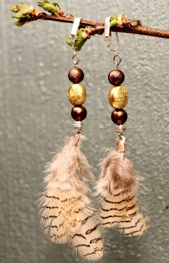 Golden hen feather earrings