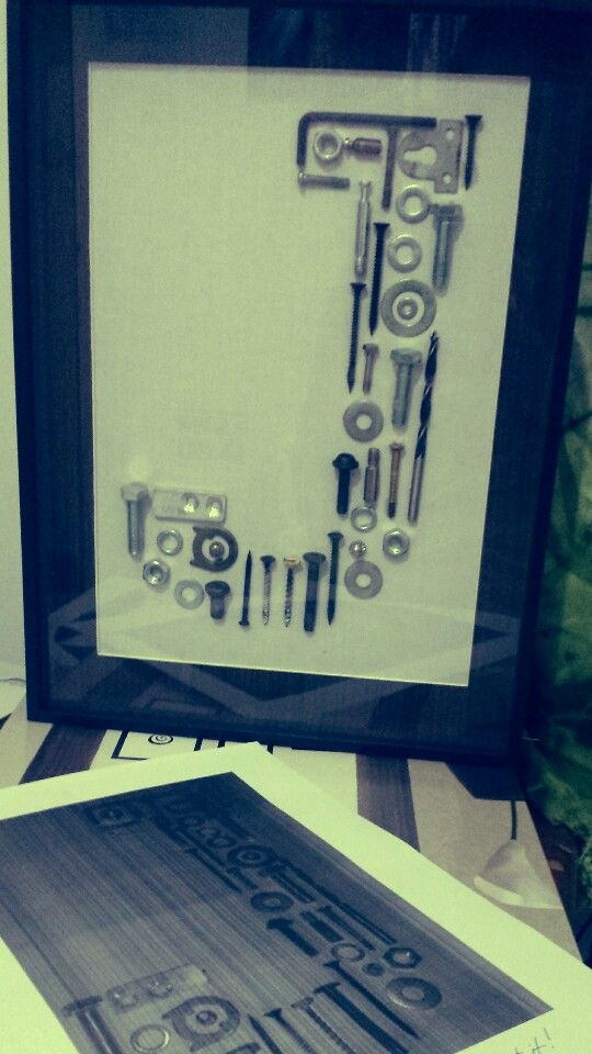 Graduation gift for the Mechanical Engineer boyfriend.   Idea from Rindy Mae's Nuts and Bolts Monogram