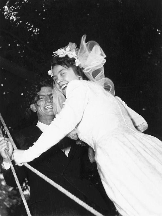 Robert Doisneau // Bride and groom on swing Chez Gégène Joinville-le-Pont, France 1947